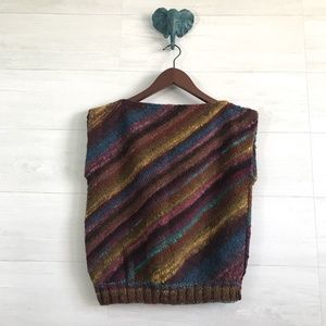 Vintage Mother S/M Chunky Knit Rainbow Stripe Vest